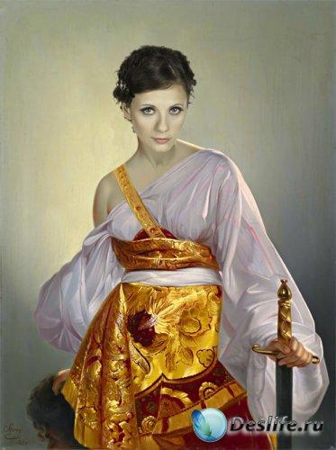 Женский костюм для фотошопа - Портрет прекрассной воительницы (XVIII век)