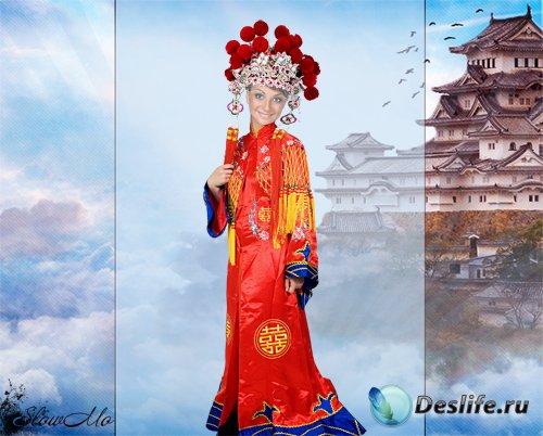 Женский костюм для фотошопа - Девушка в красном кимоно