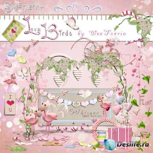 Нежно-розовый романтический скрап-набор - Любовь птиц