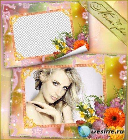 Многослойная рамка для фотошопа - Весенний букет