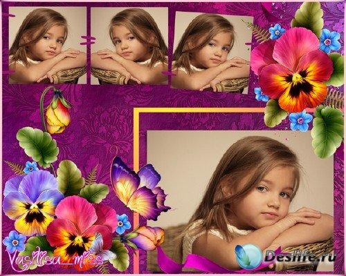 Цветочная рамка - Фиалки, бабочки, цветы