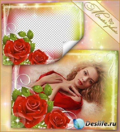 Весенняя рамка для фотошоп - Нежная роза