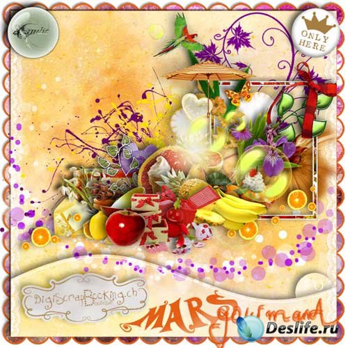 Яркий фруктово-ягодный скрап-набор - Марсианский гурман