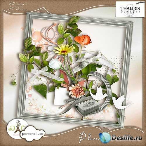 Нежный цветочный скрап-набор - Приятное время