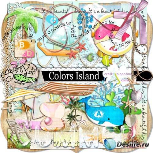 Детский морской скрап-набор - Цветной остров