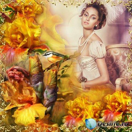 Рамка женская – Жёлтые ирисы