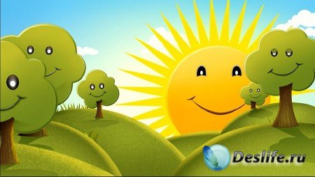Летний футаж деткам - Яркое солнышко улыбается мило