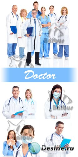 Doctors in white dressing gowns / Доктора в белых халатах - photo stock