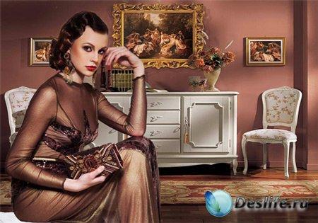 Костюм женский – Ретро в коричневом цвете