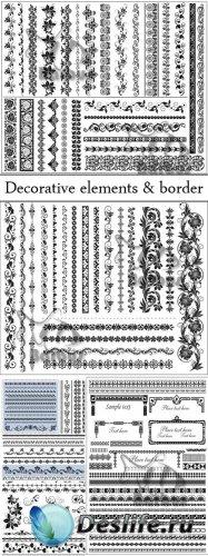 Set of decorative elements and border / Набор декоративных элементов и борд ...