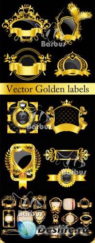 Vector Golden labels with heraldry elements / Векторные золотые ярлыки с ге ...