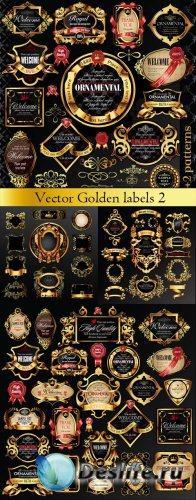 Vector Golden labels with heraldry elements 2 / Векторные золотые ярлыки с  ...