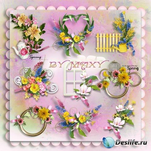 Клипарт цветы весенние композиции - Для фотодизайна