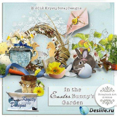 Скрап-комплект - Пасхальный кролик в саду