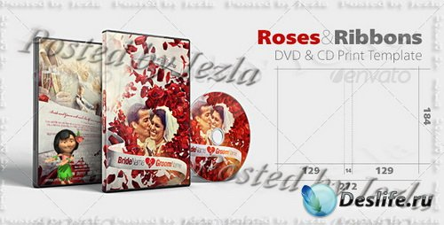 GraphicRiver - Roses & Ribbons DVD & CD Wedding Design