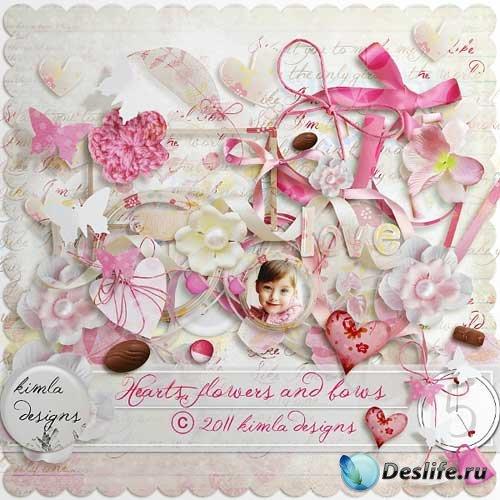 Романтический скрап-набор - Сердца, цветки и банты