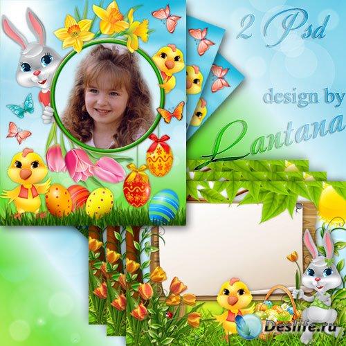 Детские пасхальные рамочки с кроликом и цыпленком