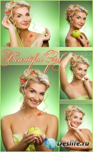 Девушка с красивой прической, девушка с яблоком - растровый клипарт