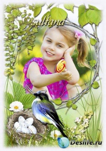 Весенняя фоторамка - Птичка гнездышко свила