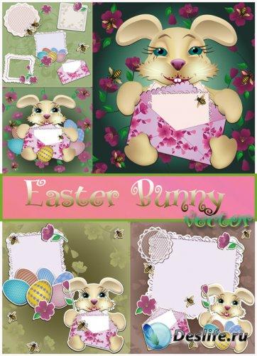 Пасха, пасхальный кролик, поздравление от пасхального кролика - векторный к ...