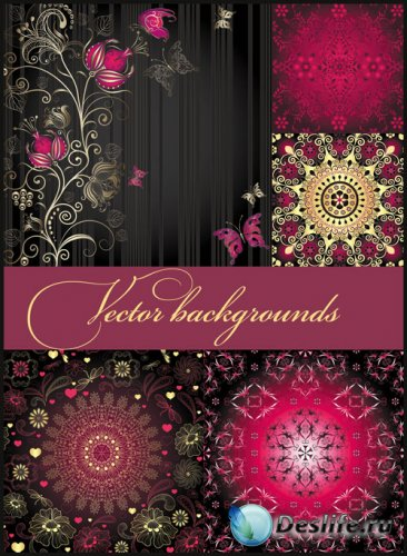 Фоны с цветами, фоны с узорами и орнаментами - векторный клипарт