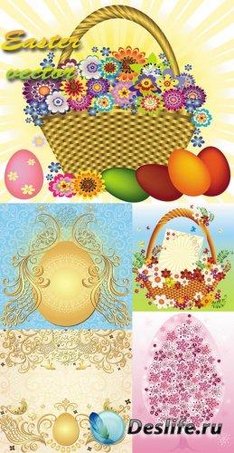 Пасха, пасхальные яйца, корзина с цветами, золотая птица, орнаменты - векто ...