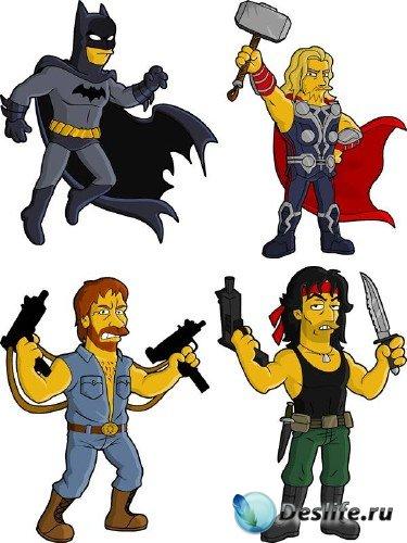 Персонажи кино, игр и комиксов в стиле симпсонов - векторный сток