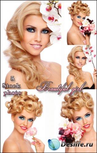 Девушка с орхидеями, красивая блондинка - растровый клипарт