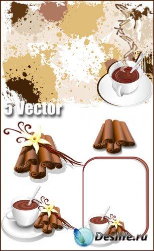 Кофе, чашка кофе, корица - векторный клипарт