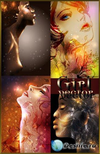 Девушки, креатив, цветы - векторный клипарт