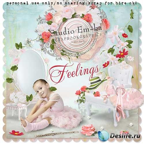 Нежный цветочный скрап-набор - Чувства