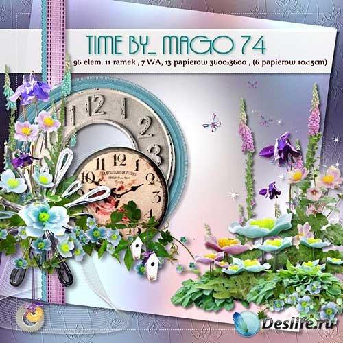 Яркий цветочный скрап-набор - Время