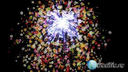 Футаж  с альфаканалом - цветочный фейерверк