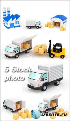 Грузоперевозки, грузовой транспорт, грузовик, погрузка - растровый клипарт