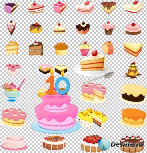 Клипарт PSD - Праздничные торты десерт пирожное с ягодами