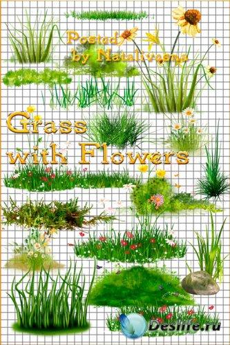 Клипарт в PNG – Трава с цветами