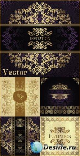 Векторные винтажные фоны с золотыми орнаментами