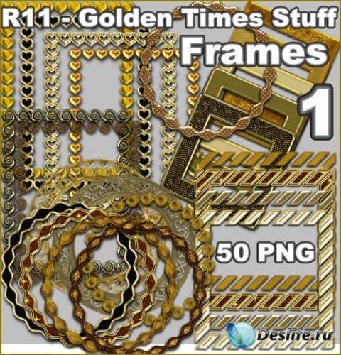 Клипарт PNG - Золотые рамки