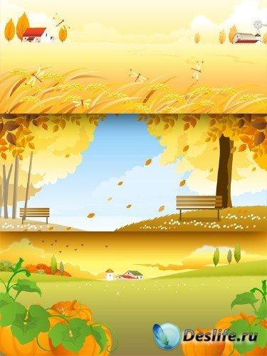 Осенние виды и пейзажи - векторный сток