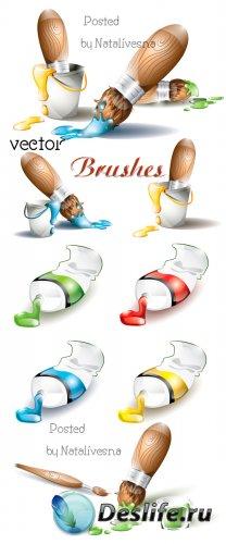Кисти с красками в Векторе / Brushes in Vector