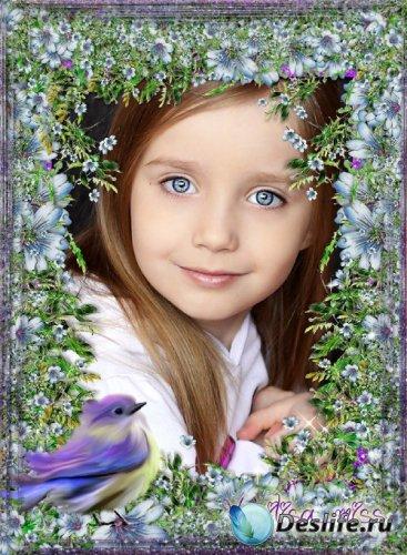 Цветочная рамка - Россыпь цветов и  милая птичка