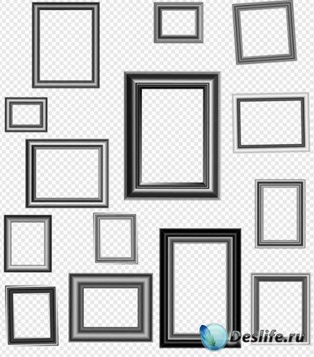 Стильные рамки вырезы тёмного цвета на прозрачном фоне