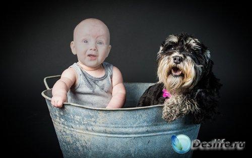 Костюм для фото - Ребёнок и собака купаются