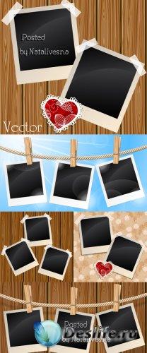 Рамки полароид на прищепках в Векторе / Vector - Frames Polaroid
