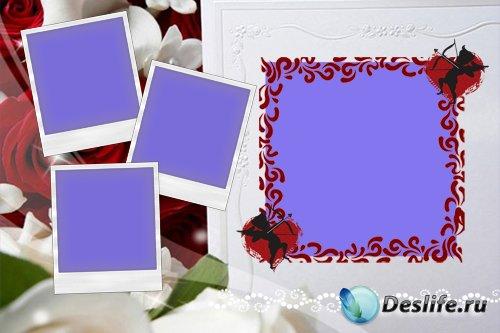 Романтическая рамка  на 4 фотографии - Озорные купидоны