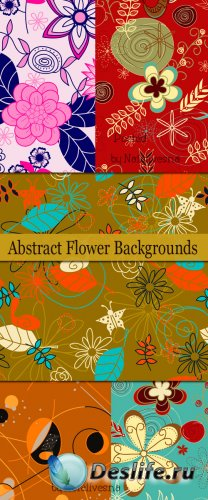 Абстрактные цветочные фоны в Векторе / Vector - Abstract flower backgrounds