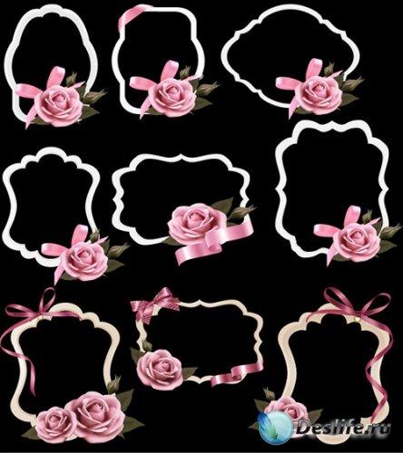 Рамки вырезы с розами бантом и ленточками на прозрачном фоне
