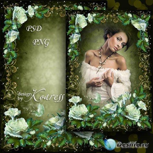Женская романтическая рамка для фотошопа - Винтажные белые цветы