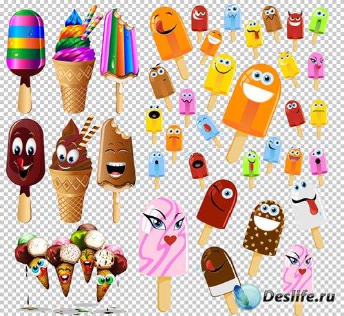 Клипарт PSD - Мороженое Эскимо с выражением эмоций на прозрачном фоне