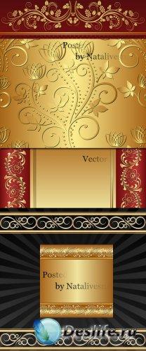 Красно - золотые фоны в Векторе / Vector - Red - gold backgrounds